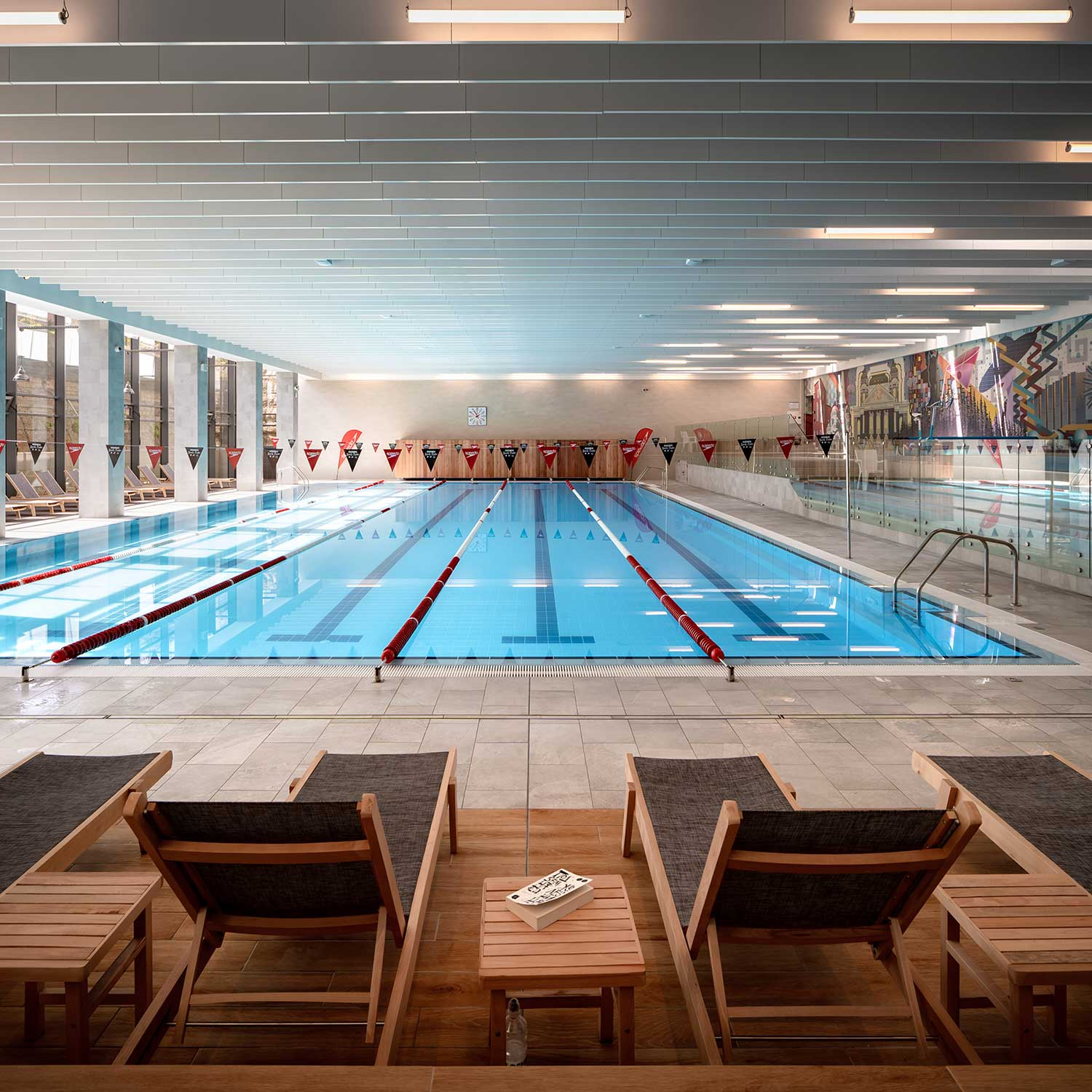 Half olympic pool with lounge in sports centre