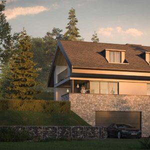 house in the mountains with garage