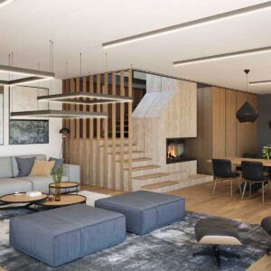 interior of a modern house with fireplace