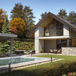 poolside view of a modern house in the woods