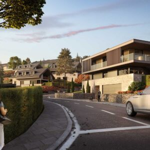 street view of residential complex with people and car